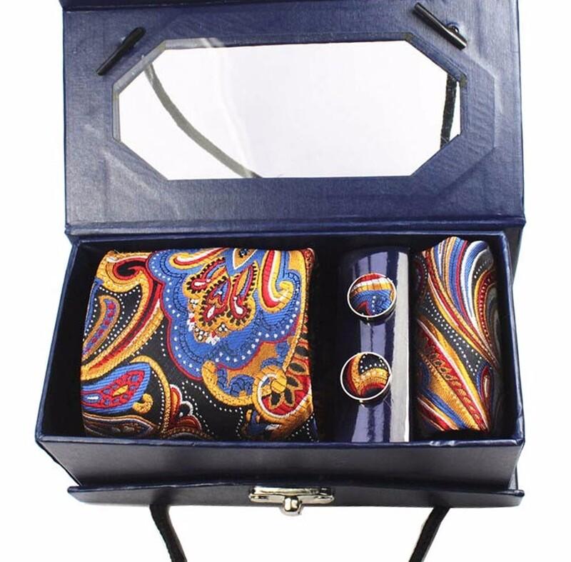 Multi-Color Paisley Necktie Set For Men's