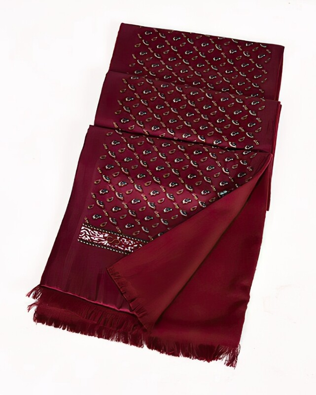 Vintage Style Wine Red Paisley Scarf
