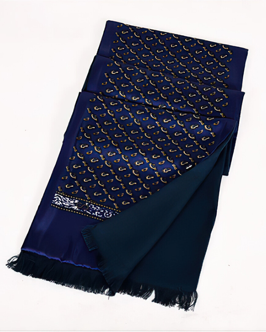 Vintage Style Dark Navy Blue Paisley Scarf