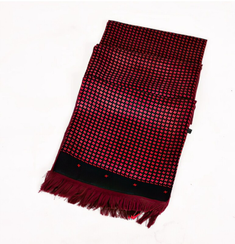 Vintage Style Red Houndstooth Scarf
