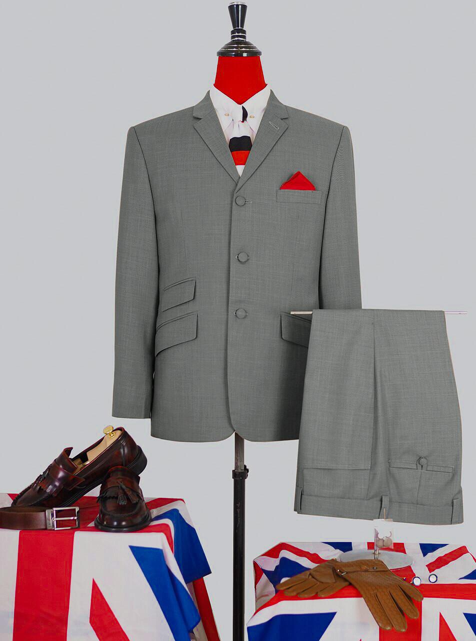 Light Grey Plain Color 2 Piece Suit