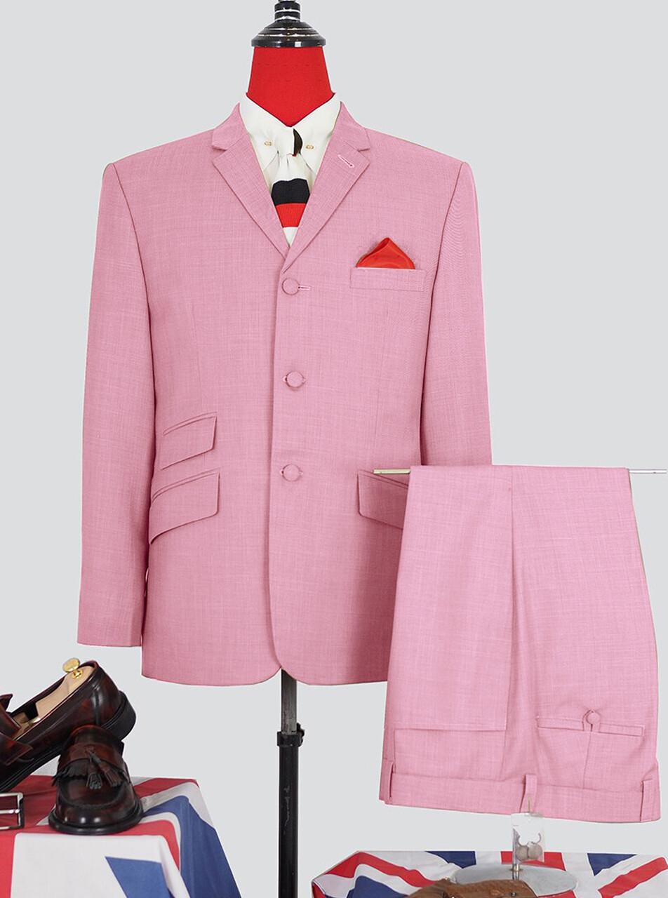 Mens Light Pink Plain Color 2 Piece Suit