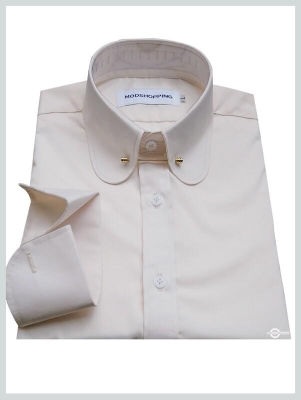 60s Mod Long Sleeve Cream color Shirt