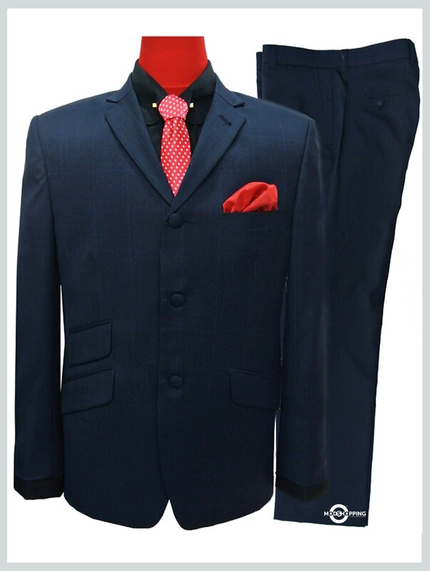 Navy Blue Prince Of Wales Check Suit