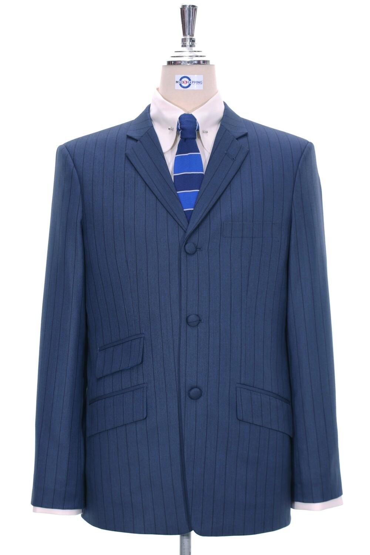 Navy Blue With Black Self Striped Blazer Jacket
