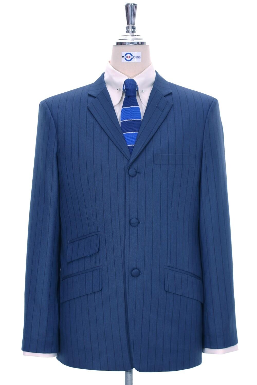 Blue With Black Self Striped Blazer Jacket