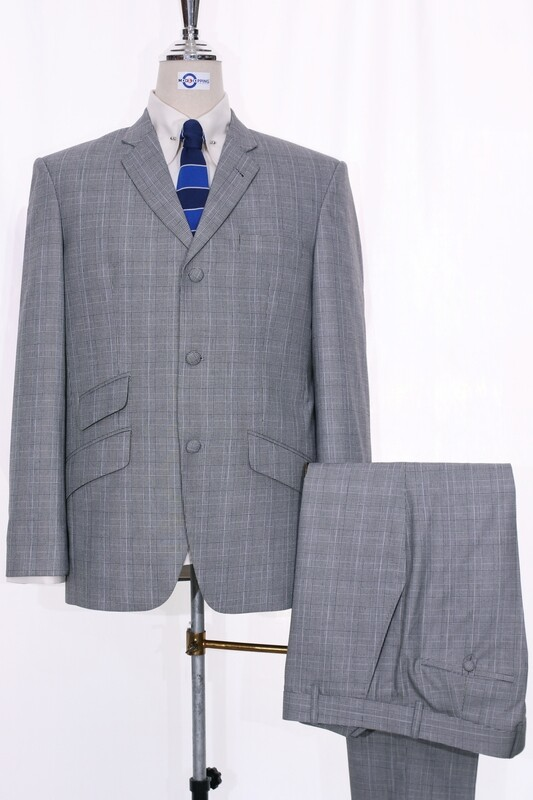 Light Grey Prince Of Wales Mohair 3 Button Mod Suit UK