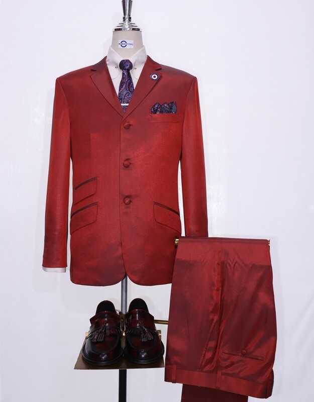 Burnt Orange And Pine Two Tone Suit For Men