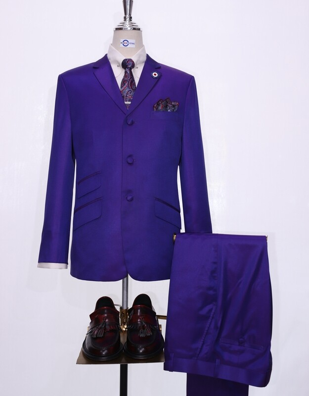 Dark Purple And Red Two Tone Suit For Men