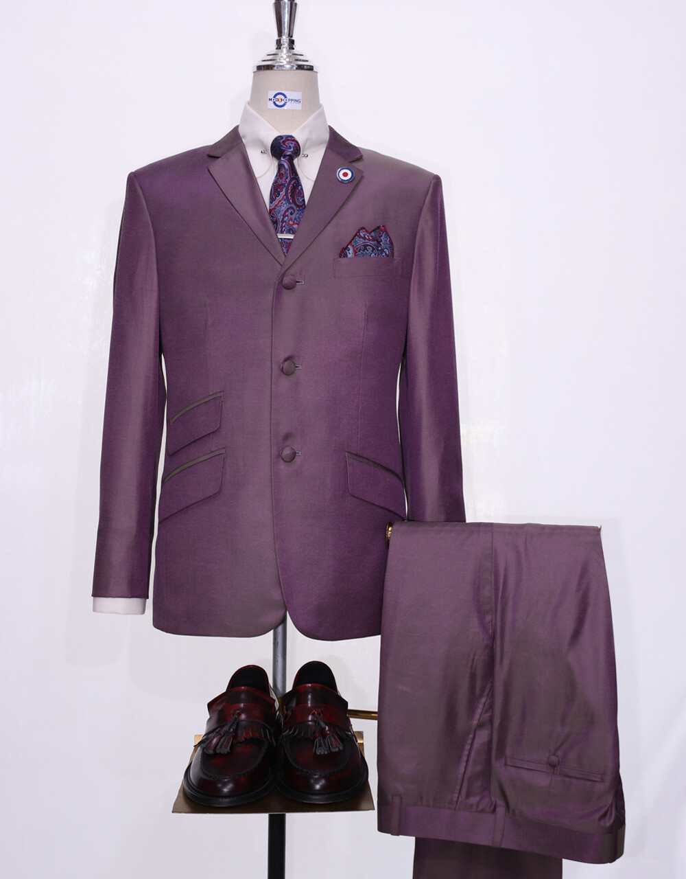 Grape And Yellow Two Tone Suit For Men
