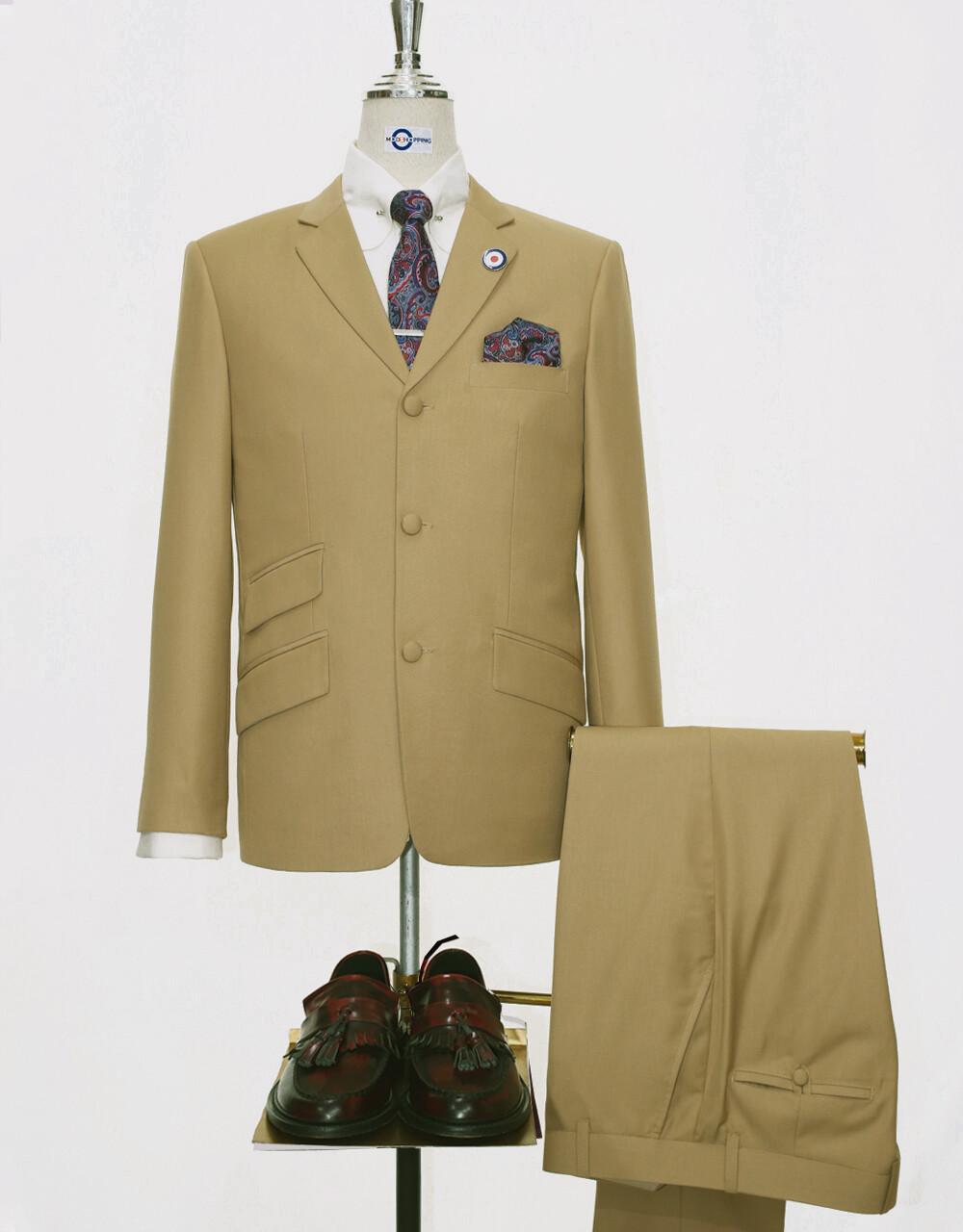 Mod Suit | 60s Style 3 Button Khaki Men Suit