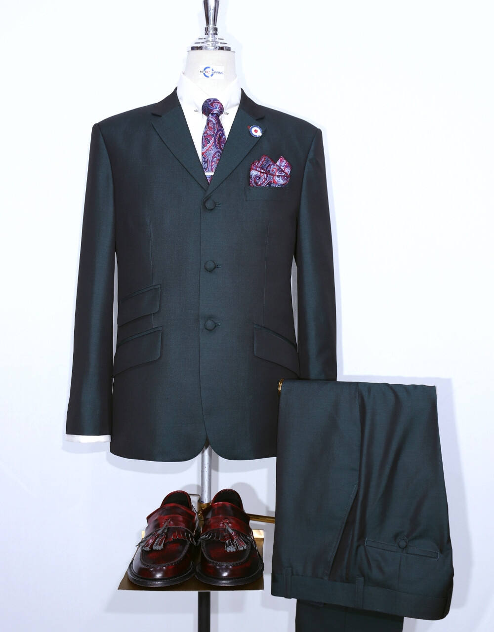 Mod Suit | Bottle Green And Black Two Tone Tonic Suit