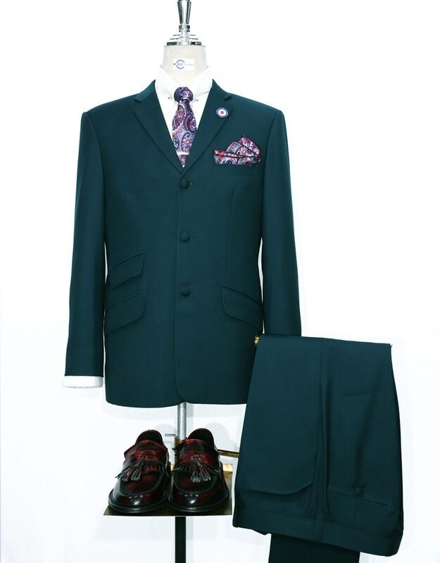 Vintage Green Plain Color Mohair Mod Suit.