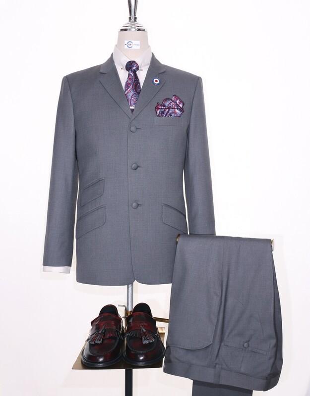 Pale Grey 60s Mod Style Tailored  Vintage Suit