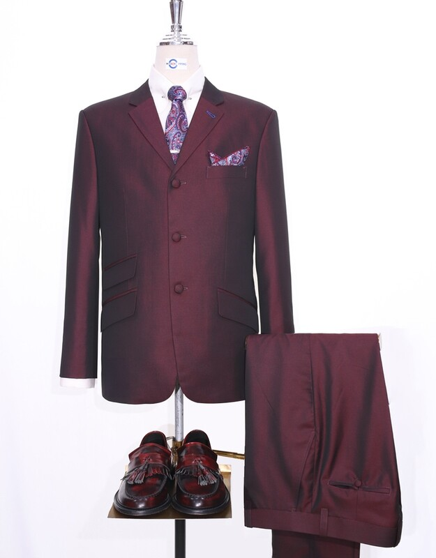 Wine And Black Two Tone Tonic Suit