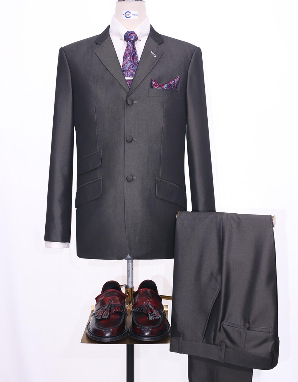 Mod Suit   60s Vintage Style Golden Grey Tonic Suit