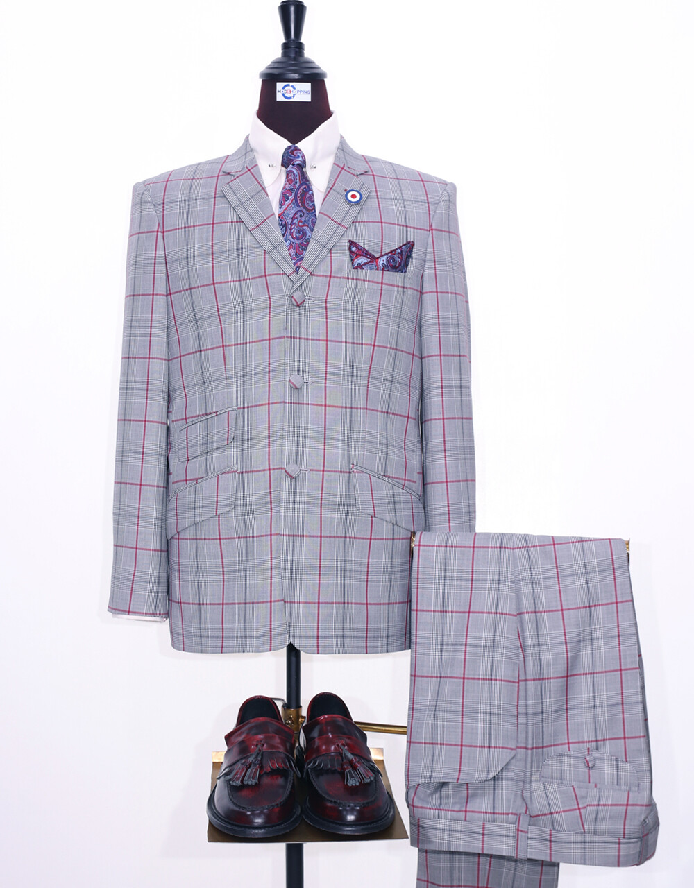 Mod Suit | 60s Style Light Grey Prince Of Wales Check Suit
