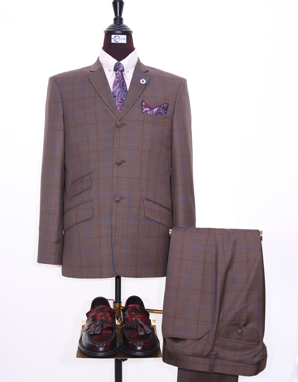 Mod Suit | 60s Style Brown Prince Of Wales Check Suit