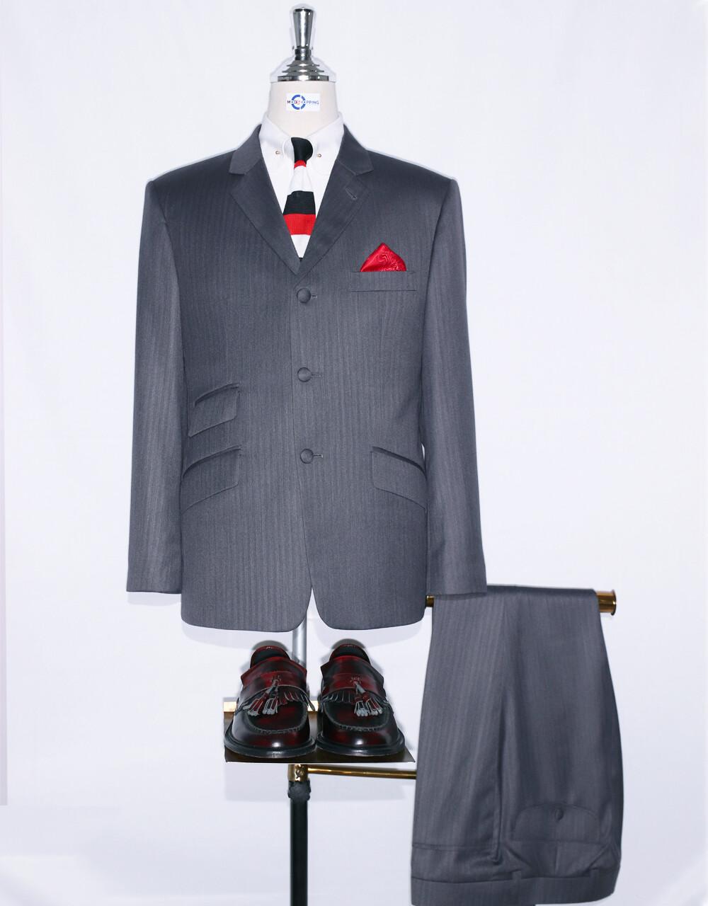 Grey Herringbone Classic Essential Suit
