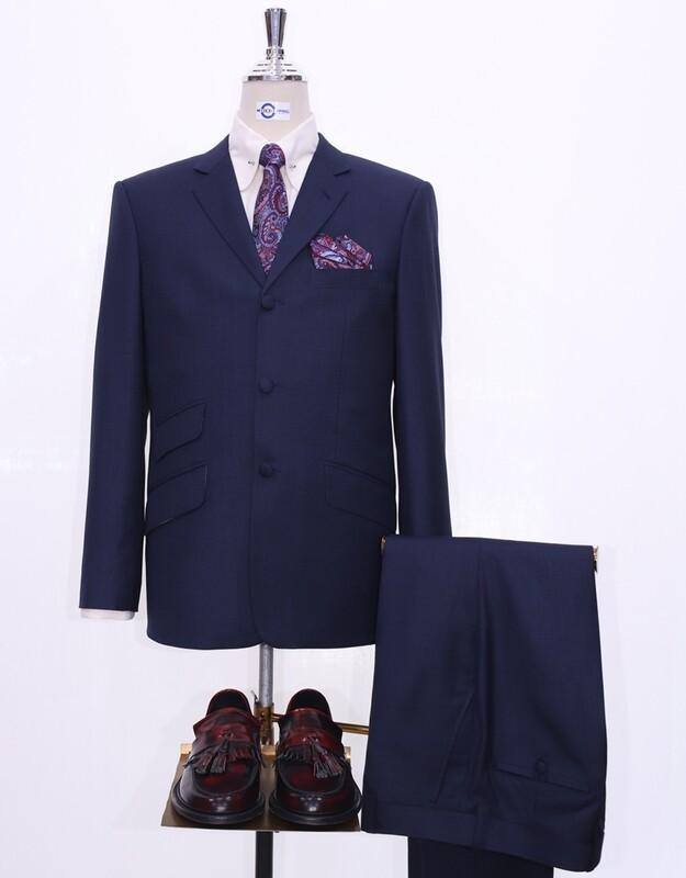 Navy Blue Mod Suit | 60s Covered Button Suit