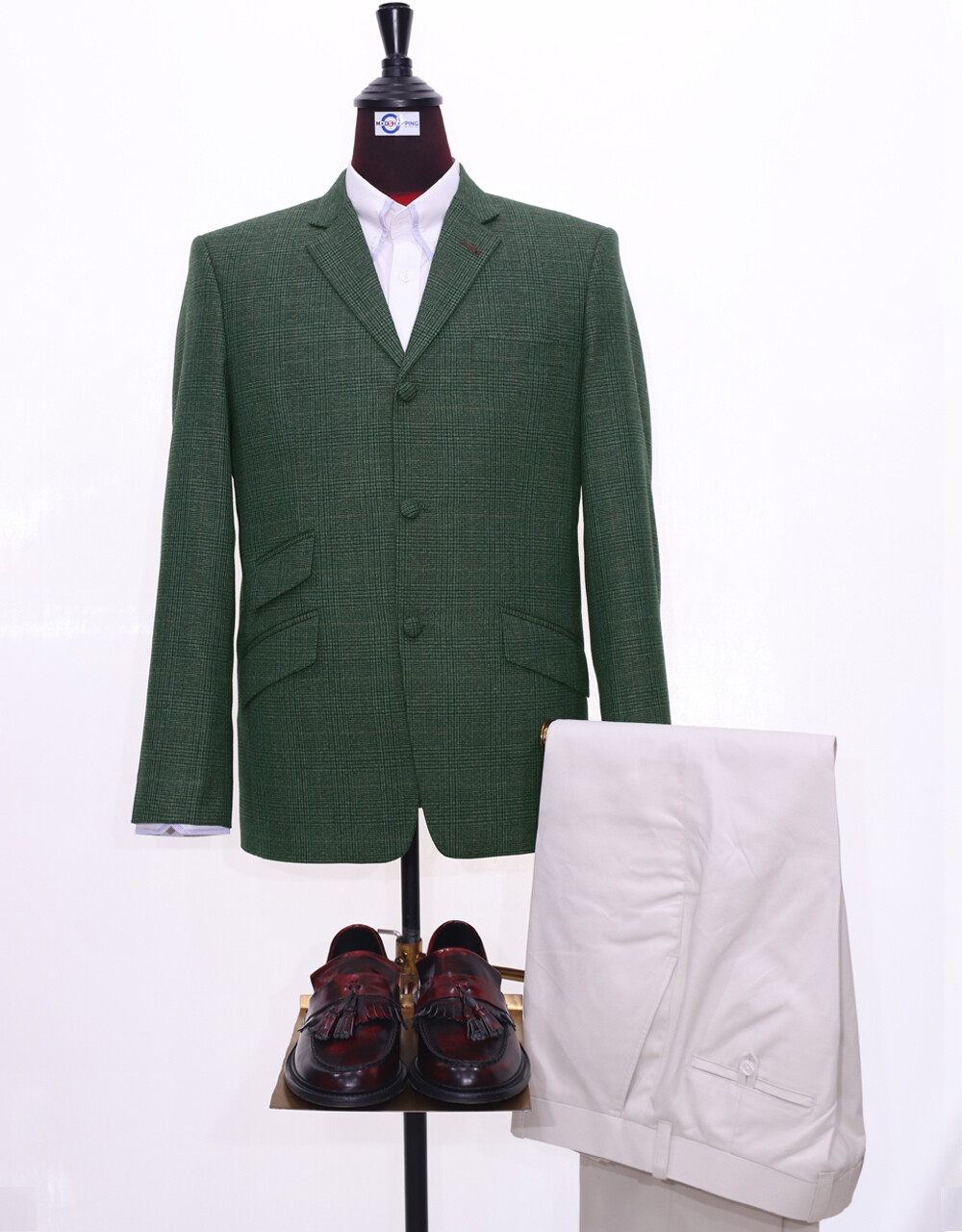 Green & Grey Contras Tweed Pow Blazer Jacket