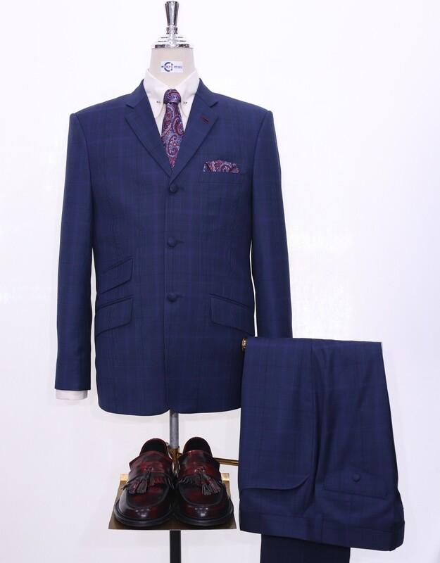 60s style Pow Check Suit   Navy Blue Pow Check Suit For Men.