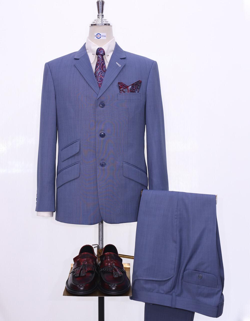 60s Style Suit Steel Blue 3 Button Mod Suit For Men