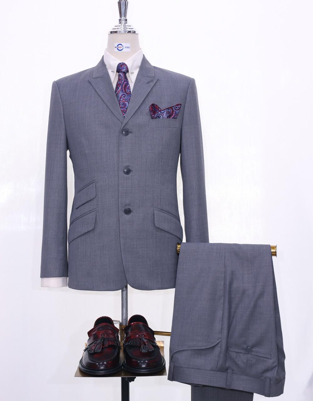 Mod Suit   Grey Peak Lapel 2 Piece Suit