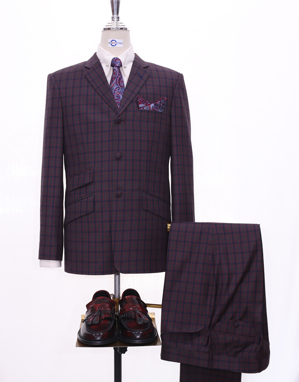 Mod Suit    Multi-Color Gingham Check 3 Button Suit