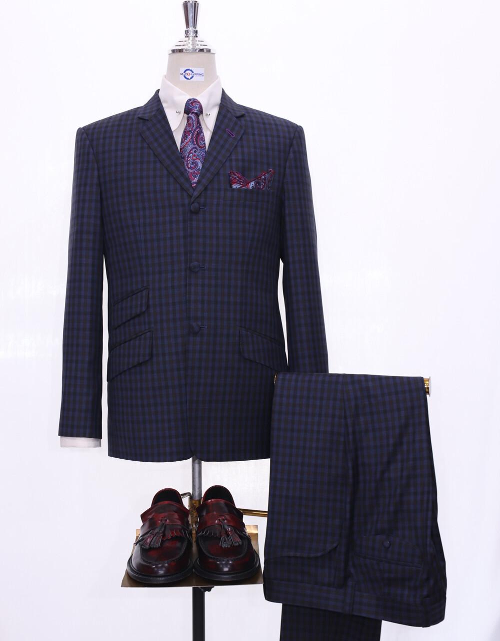 Mod Suit | Navy Blue Gingham Check 3 Button Suit