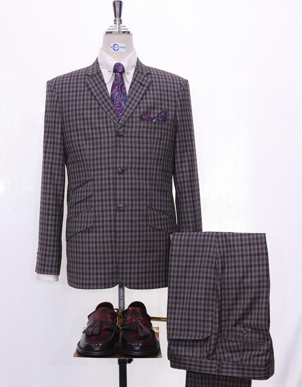Mod Suit | Grey Gingham Check 3 Button Suit