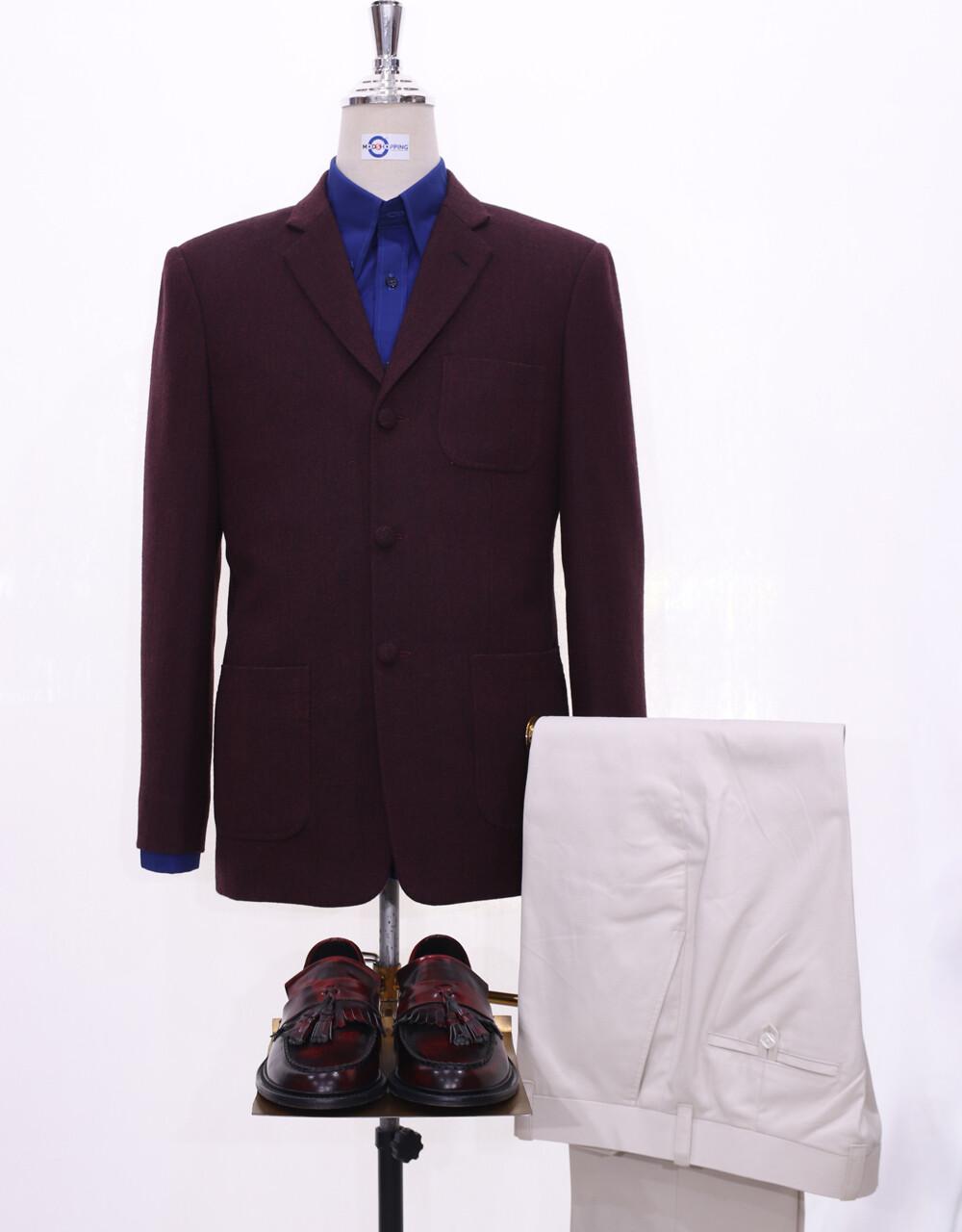 Herringbone Jacket | 60s Style Maroon Tweed Jacket