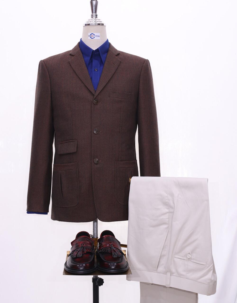 Herringbone Jacket | 60s Style Brown Tweed Jacket