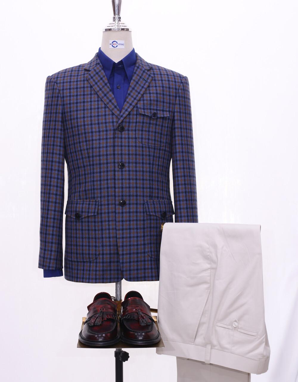 Tweed Jacket | Navy Blue Gingham Check 60s Style Jacket
