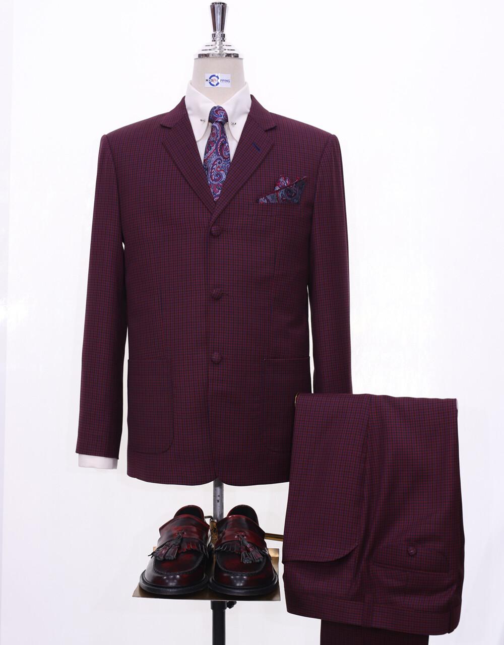 Mod Suit   Burgundy Houndstooth 60s Style Men Suit