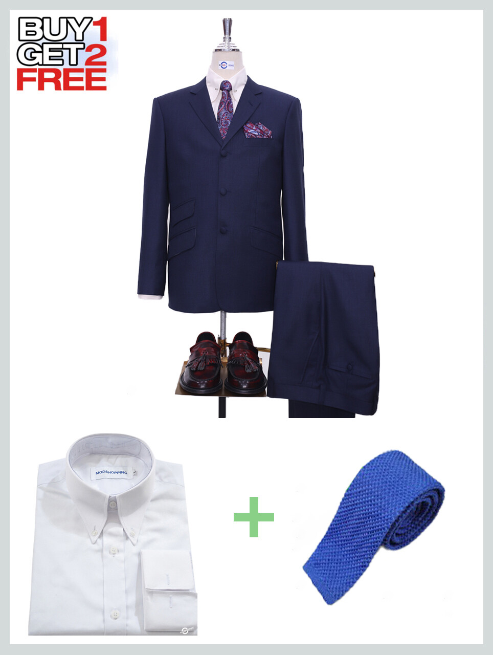 Suit Package | Tailored 60s Style Navy Blue Mod Suit.