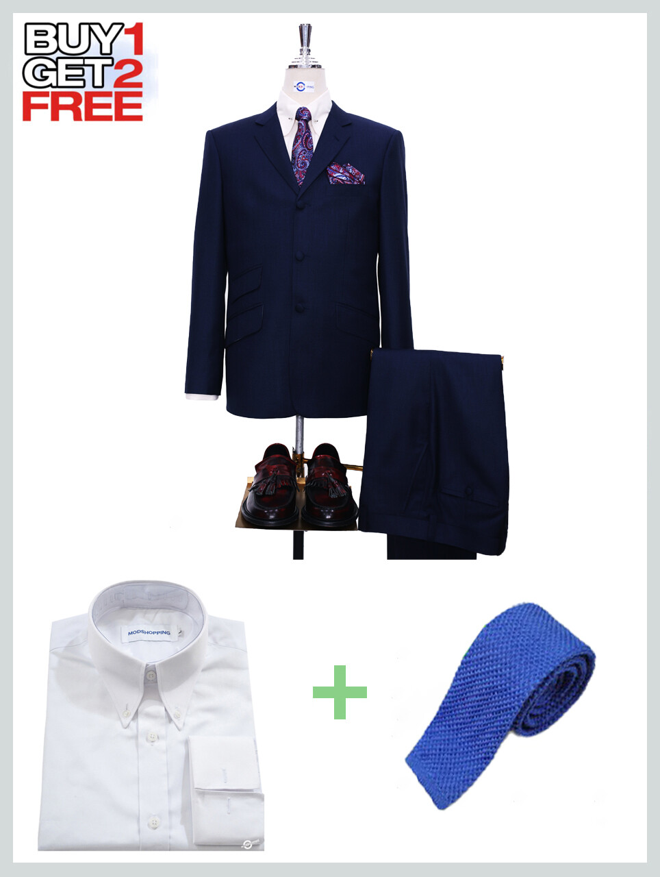 Suit Package   Tailored 60s Style Dark Navy Blue Mod Suit
