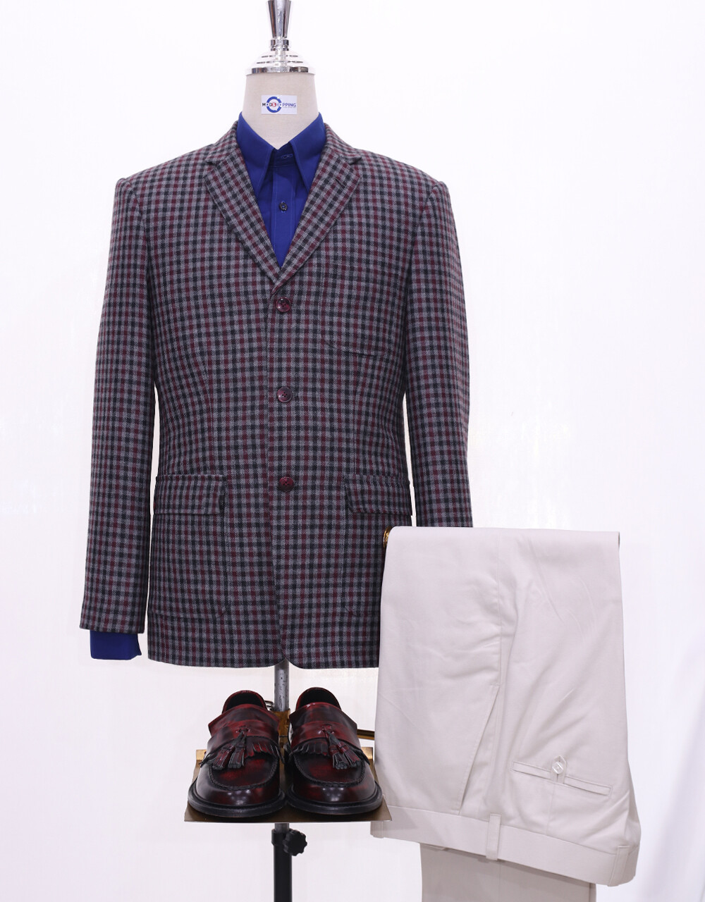 Tweed Jacket | Grey Gingham Check 60s Style Jacket