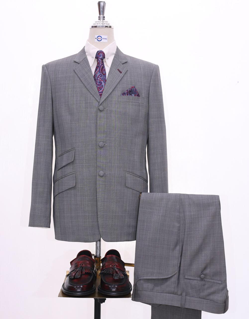 Mod Suit | Grey Glen Plaid Check Suit