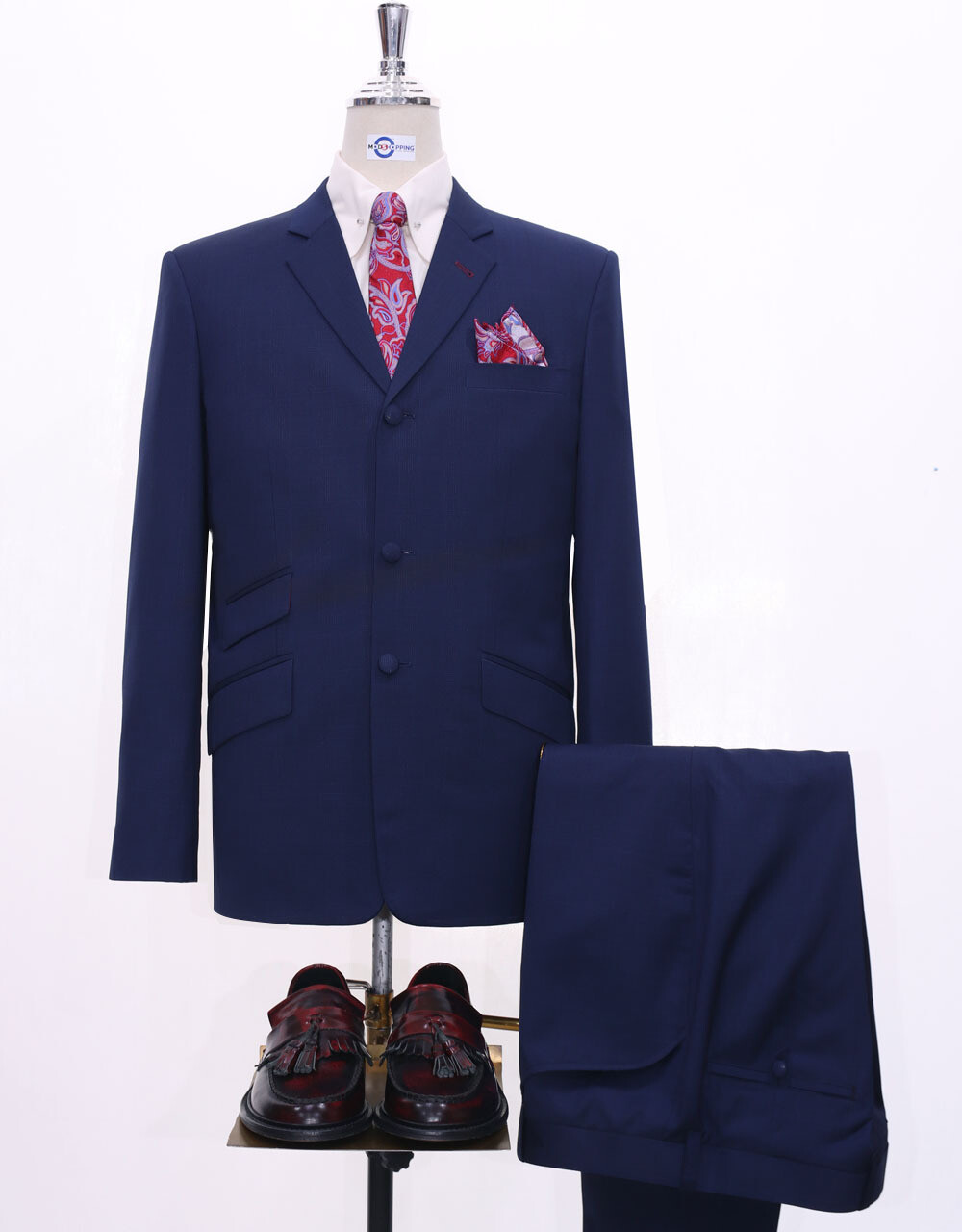 Mod Suit   Navy Blue Glen Plaid Check Suit