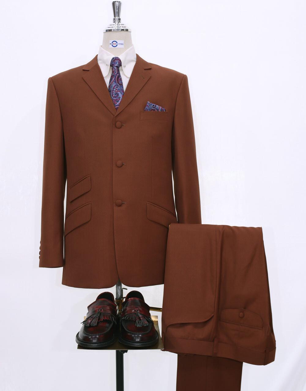 Mod Suit | 60s Style Burnt Orange Mohair  Suit