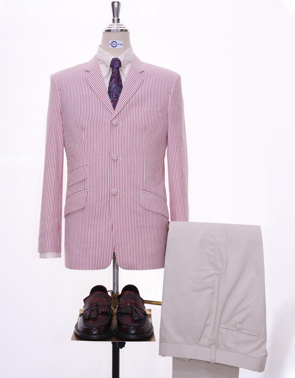 60s Mod Fashion Men Seersucker Red Berry Summer Jacket
