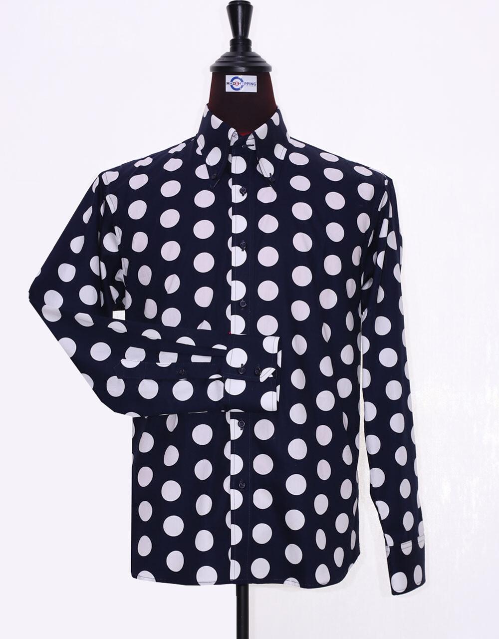 Mod Shirt   Large Dark Navy Blue Polka Dot Shirt