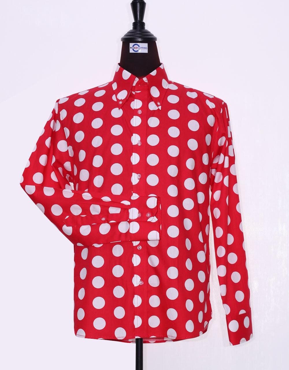 Mod Shirt   Large Red Polka Dot Shirt