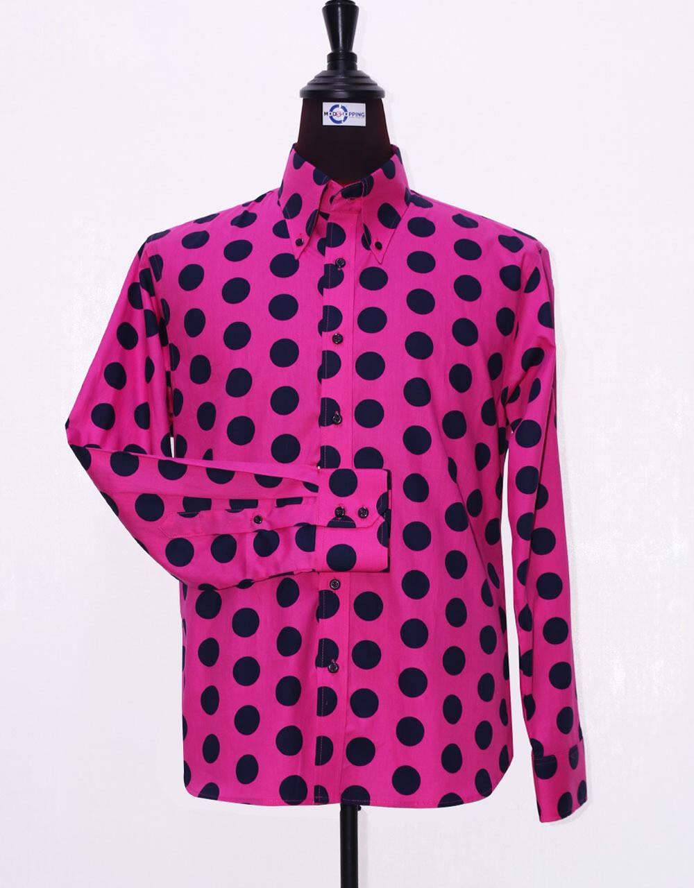 Mod Shirt | Large Fuchsia Polka Dot  Shirt