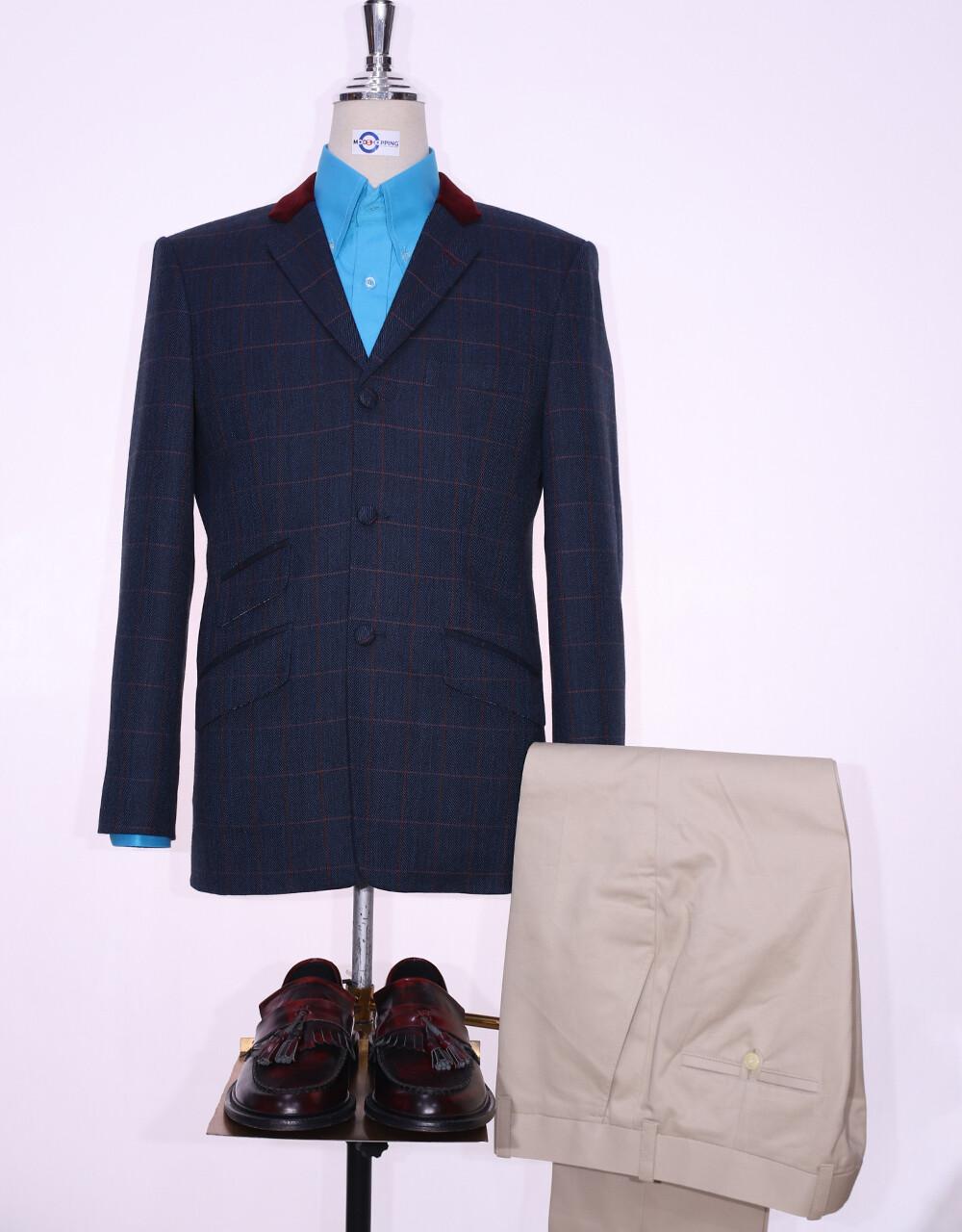 Tweed Jacket   Navy Blue Windowpane Check 60s Style Jacket.