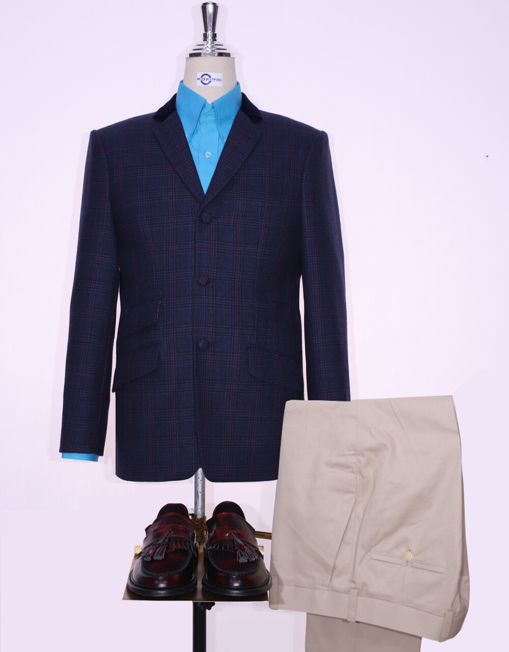 Tweed Jacket | Navy Blue Prince Of Wales Check 60s Style Jacket.