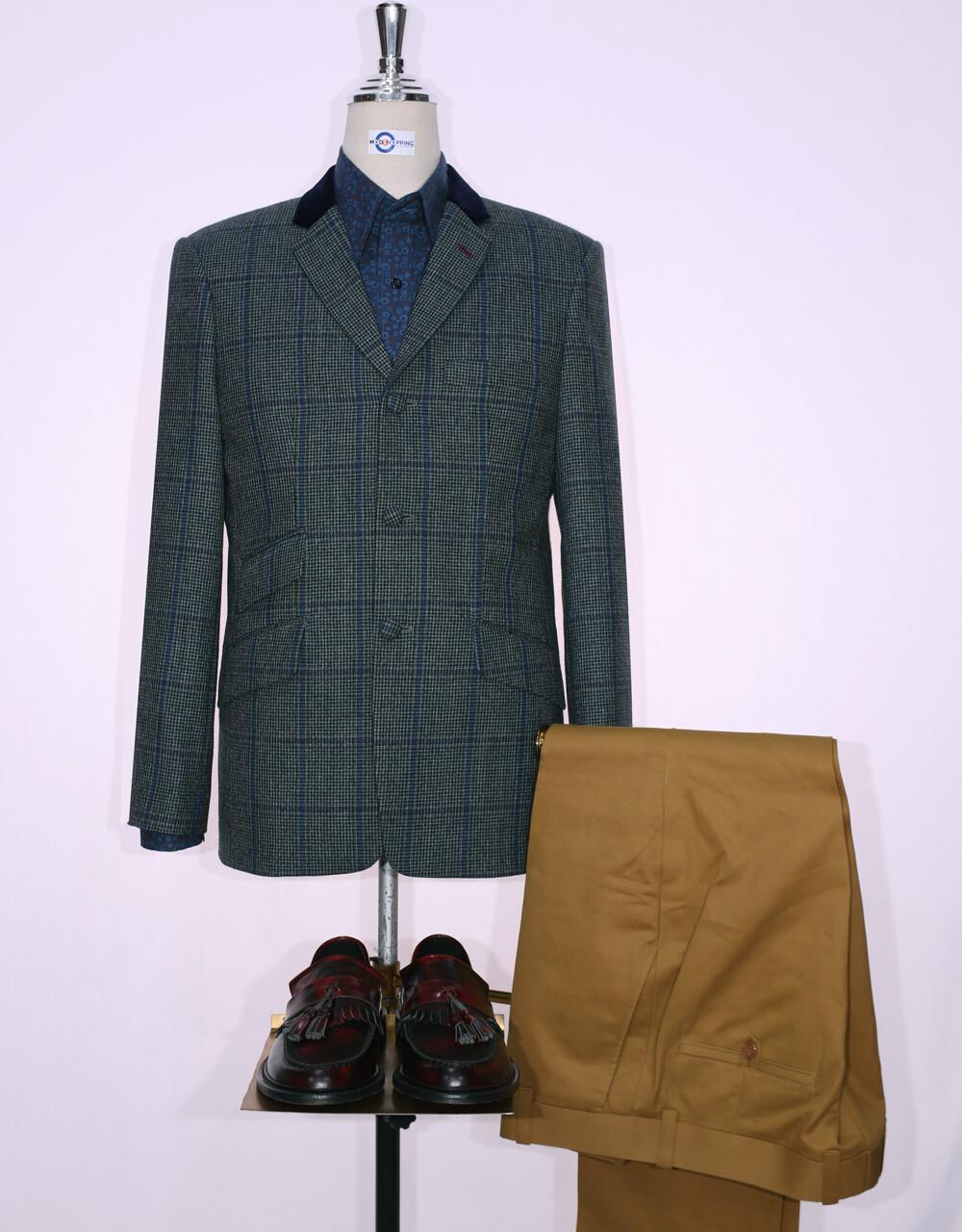 Tweed Jacket | Grey Green Windowpane Check 60s Style Jacket.