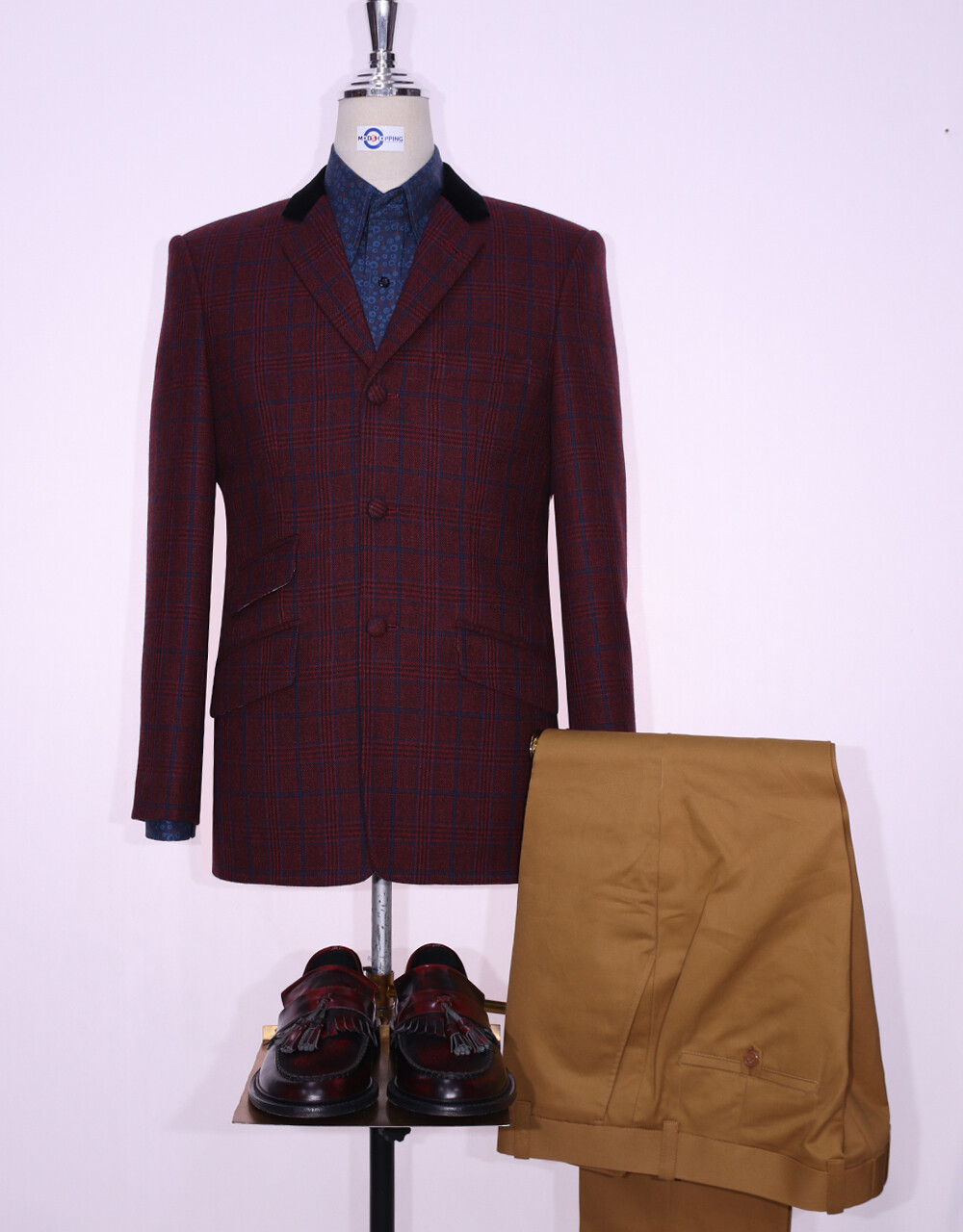 Tweed Jacket   Burgundy Prince Of Wales Check 60s Style Jacket.