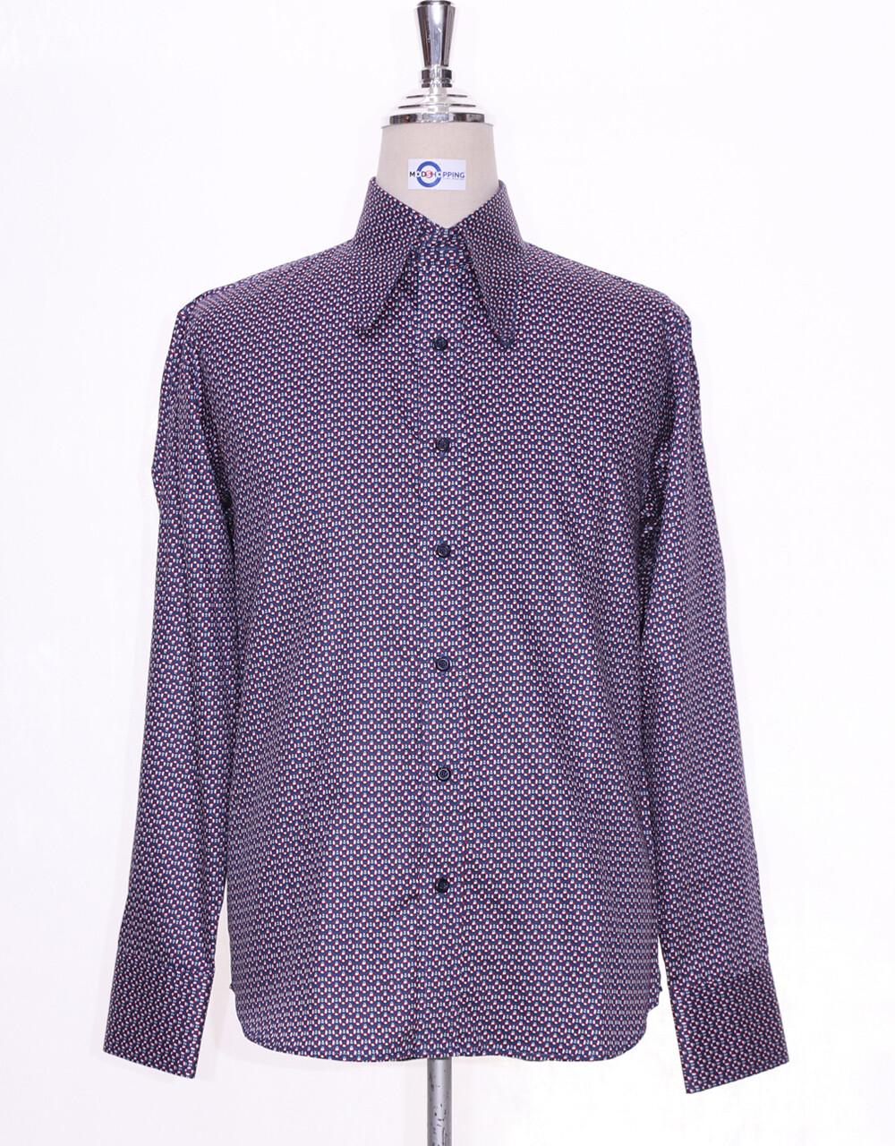 Hight Penny Collar Shirt | Multi Color Circle Pattern Shirt